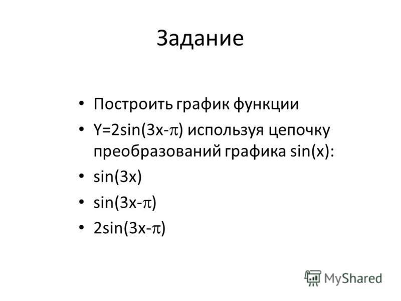 Задание Построить график функции Y=2sin(3x- ) используя цепочку преобразований графика sin(х): sin(3 х) sin(3 х- ) 2sin(3 х- )