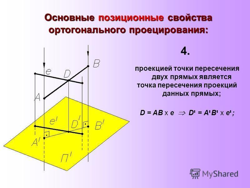 Основные позиционные свойства ортогонального проецирования: проекцией точки пересечения двух прямых является точка пересечения проекций данных прямых; D = АВ х е D י = А י В י х e י ; 4.