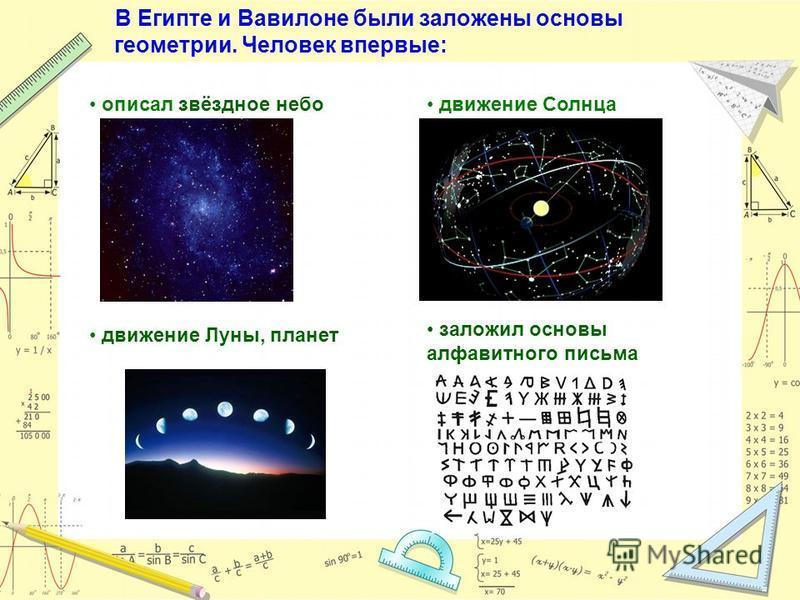 В Египте и Вавилоне были заложены основы геометрии. Человек впервые: описал звёздное небо заложил основы алфавитного письма движение Солнца движение Луны, планет