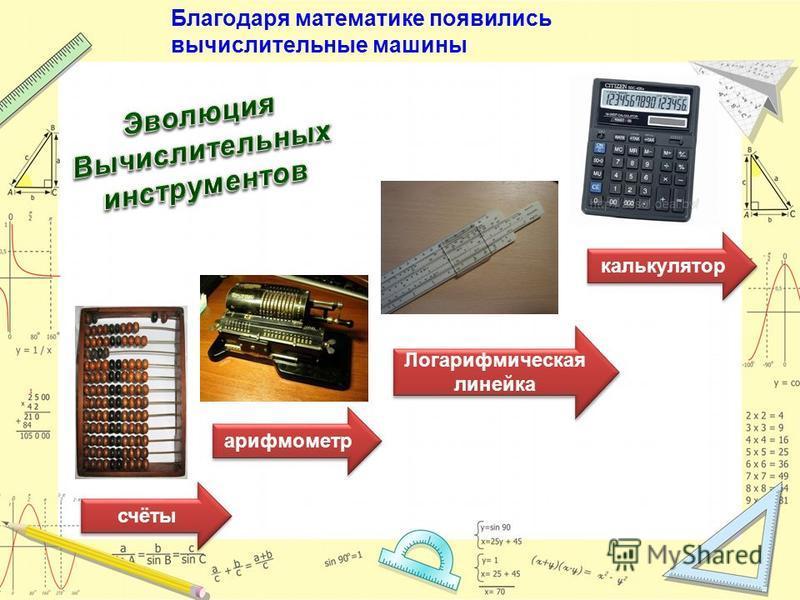 счёты арифмометр Логарифмическая линейка калькулятор Благодаря математике появились вычислительные машины
