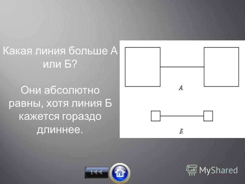 Какая линия больше А или Б? Они абсолютно равны, хотя линия Б кажется гораздо длиннее.