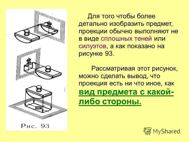 Для того чтобы более детально изобразить предмет, проекции обычно выполняют не в виде сплошных теней или силуэтов, а как показано на рисунке 93. Рассматривая этот рисунок, можно сделать вывод, что проекция есть ни что иное, как вид предмета с какой-