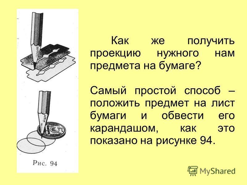 Как же получить проекцию нужного нам предмета на бумаге? Самый простой способ – положить предмет на лист бумаги и обвести его карандашом, как это показано на рисунке 94.