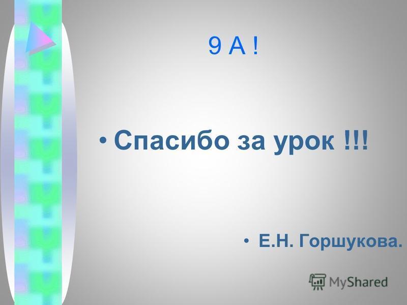9 А ! Спасибо за урок !!! Е.Н. Горшукова.