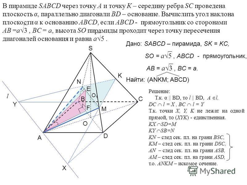 В пирамиде SABCD через точку А и точку К – середину ребра SC проведена плоскость α, параллельно диагонали BD – основание. Вычислить угол наклона плоскости α к основанию ABCD, если ABCD - прямоугольник со сторонами AB =а 3, BC = а, высота SO пирамиды
