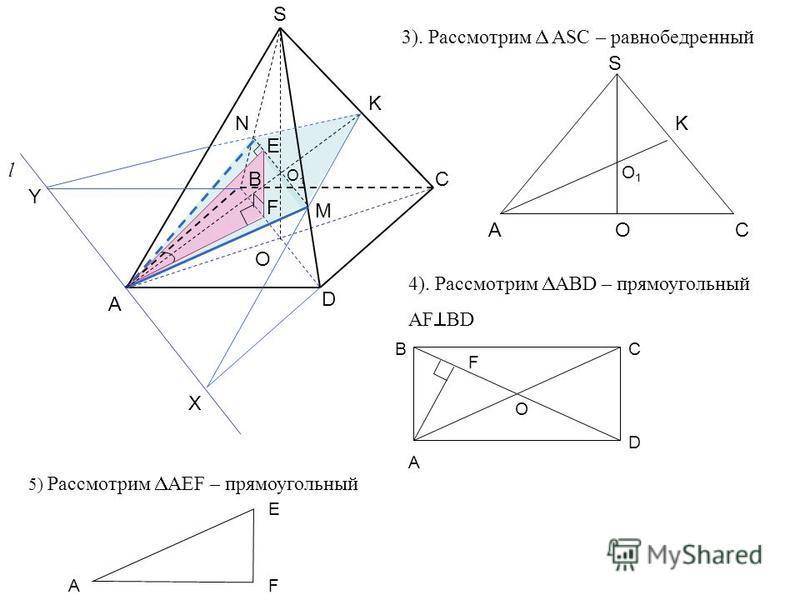 А C D O S B K l X Y N M F E O1O1 3). Рассмотрим ASC – равнобедренный A S C K O O1O1 4). Рассмотрим ABD – прямоугольный AF BD A BC D O F 5) Рассмотрим AEF – прямоугольный E AF