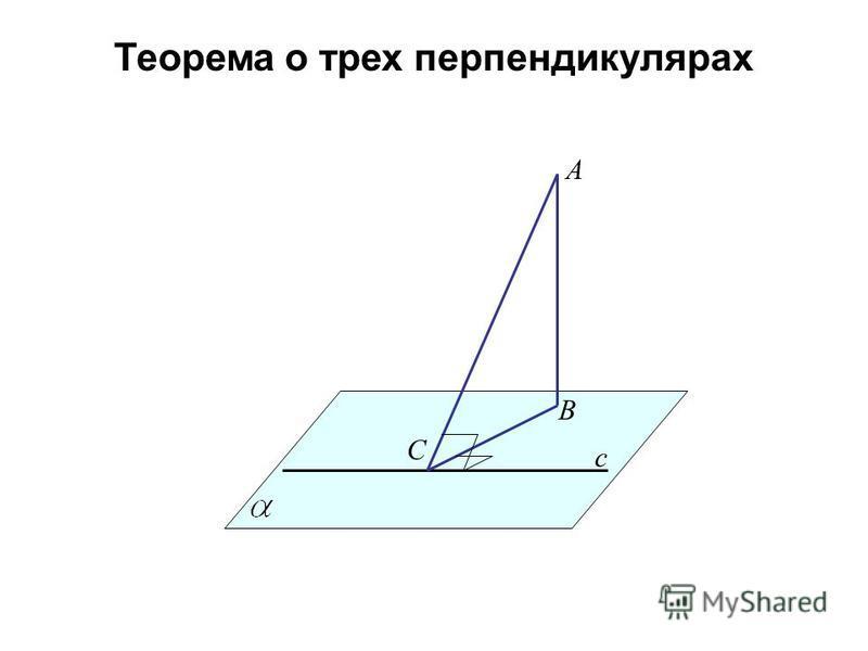 Теорема о трех перпендикулярах A B c C