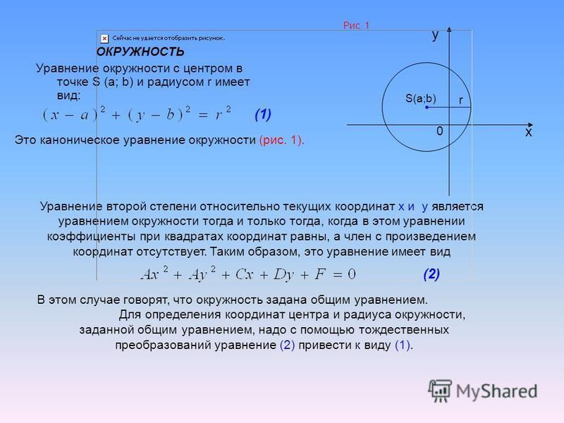 ОКРУЖНОСТЬ Уравнение окружности с центром в точке S (a; b) и радиусом r имеет вид: Рис. 1 x y 0 S(a;b) r Уравнение второй степени относительно текущих координат x и y является уравнением окружности тогда и только тогда, когда в этом уравнении коэффиц