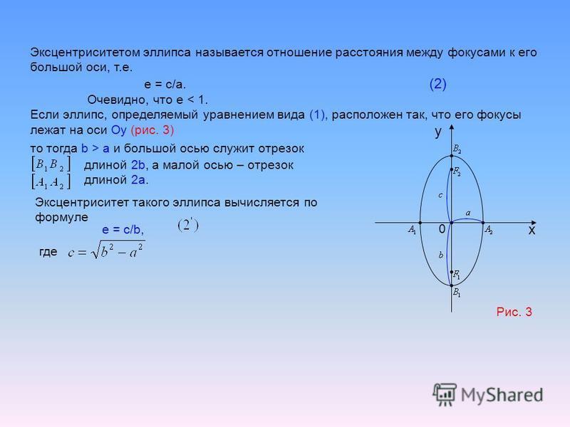 Эксцентриситетом эллипса называется отношение расстояния между фокусами к его большой оси, т.е. е = с/а. (2) Очевидно, что е < 1. Если эллипс, определяемый уравнением вида (1), расположен так, что его фокусы лежат на оси Оу (рис. 3) x Рис. 3 0 то тог