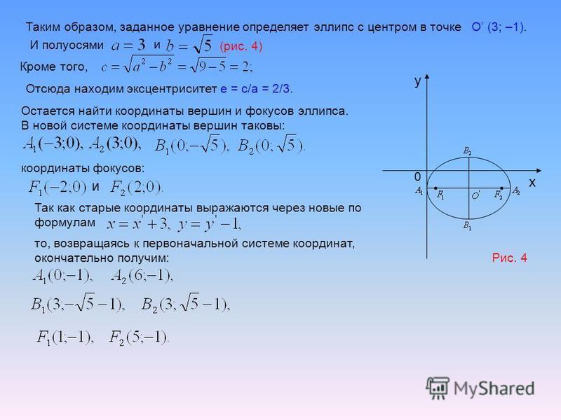 Таким образом, заданное уравнение определяет эллипс с центром в точке O (3; –1). И полуосями и (рис. 4) 0 x y Кроме того, Отсюда находим эксцентриситет е = с/а = 2/3. Остается найти координаты вершин и фокусов эллипса. В новой системе координаты верш