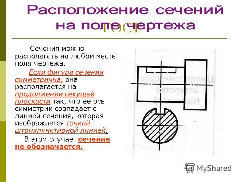 ГОСТ Сечения можно располагать на любом месте поля чертежа. Если фигура сечения симметрична, продолжении секущей плоскости Если фигура сечения симметрична, она располагается на продолжении секущей плоскости так, что ее ось симметрии совпадает с линие