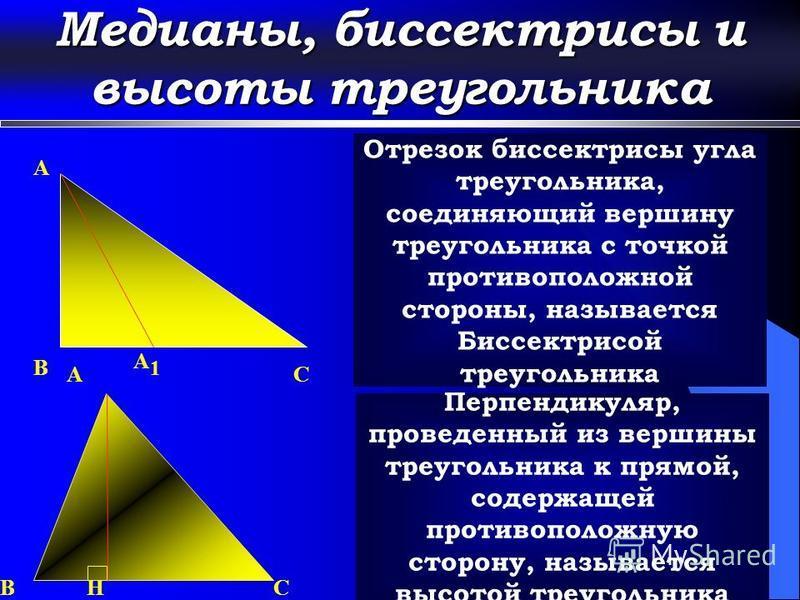 Медианы, биссектрисы и высоты треугольника A M Отрезок, соединяющий вершину треугольника с серединой противоположной стороны, называется медианой треугольника A C M2 B M1 M3