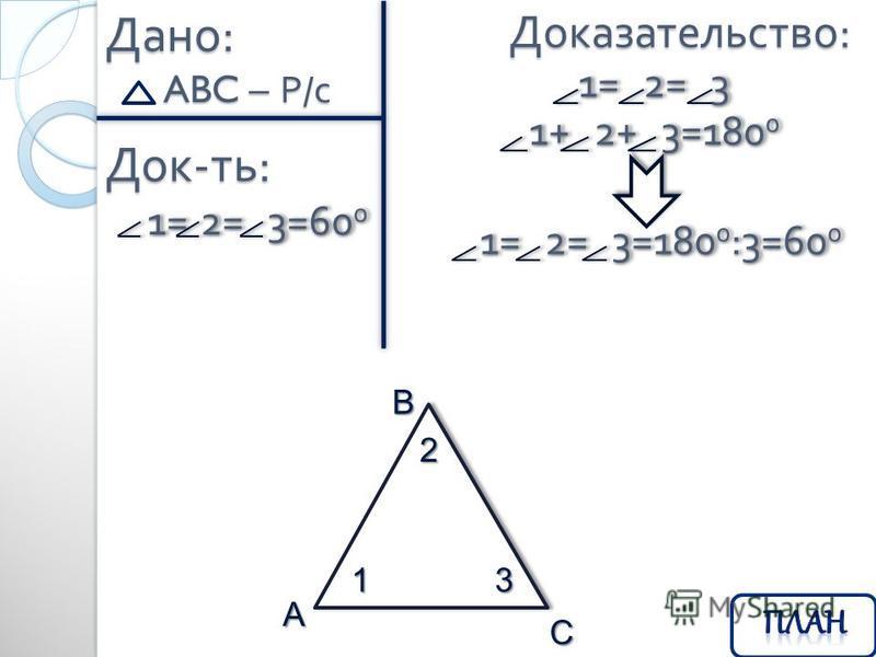 Дано : ABC – Р / с Док - ть : 1= 2= 3=60 0 1= 2= 3=60 0 Доказательство : B1 2 3 A C 1= 2= 3 1= 2= 3 1+ 2+ 3=180 0 1+ 2+ 3=180 0 1= 2= 3=180 0 :3=60 0 1= 2= 3=180 0 :3=60 0