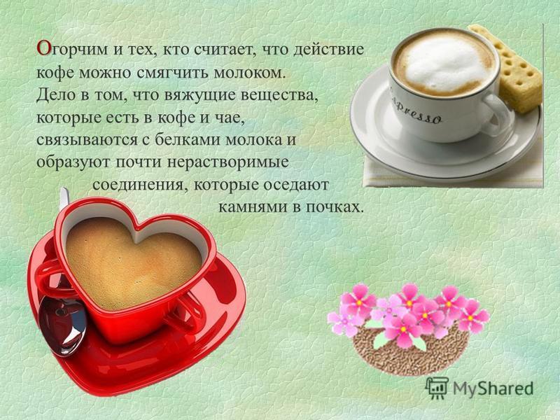 О О горчим и тех, кто считает, что действие кофе можно смягчить молоком. Дело в том, что вяжущие вещества, которые есть в кофе и чае, связываются с белками молока и образуют почти нерастворимые соединения, которые оседают камнями в почках.