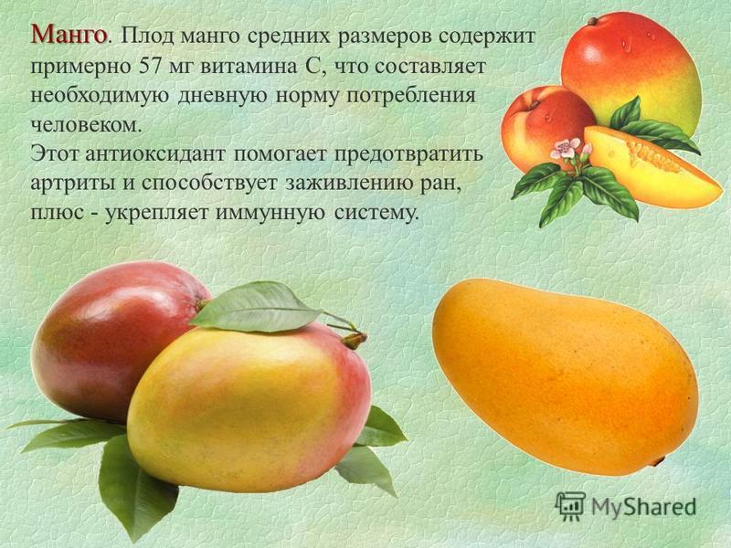 Манго Манго. Плод манго средних размеров содержит примерно 57 мг витамина С, что составляет необходимую дневную норму потребления человеком. Этот антиоксидант помогает предотвратить артриты и способствует заживлению ран, плюс - укрепляет иммунную сис