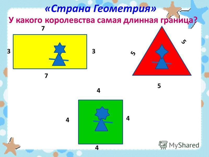 «Страна Геометрия» У какого королевства самая длинная граница? 5 5 5 4 4 4 4 7 7 33