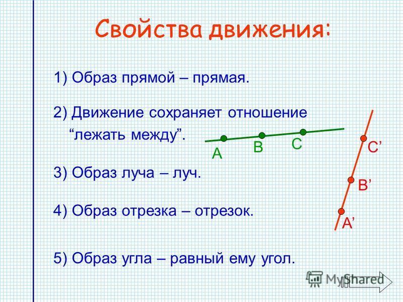 Свойства движения: 3) Образ луча – луч. 1) Образ прямой – прямая. 4) Образ отрезка – отрезок. 5) Образ угла – равный ему угол. 2) Движение сохраняет отношение лежать между. А В С А B C
