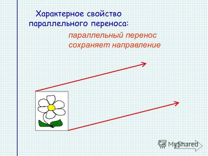 Характерное свойство параллельного переноса: параллельный перенос сохраняет направление