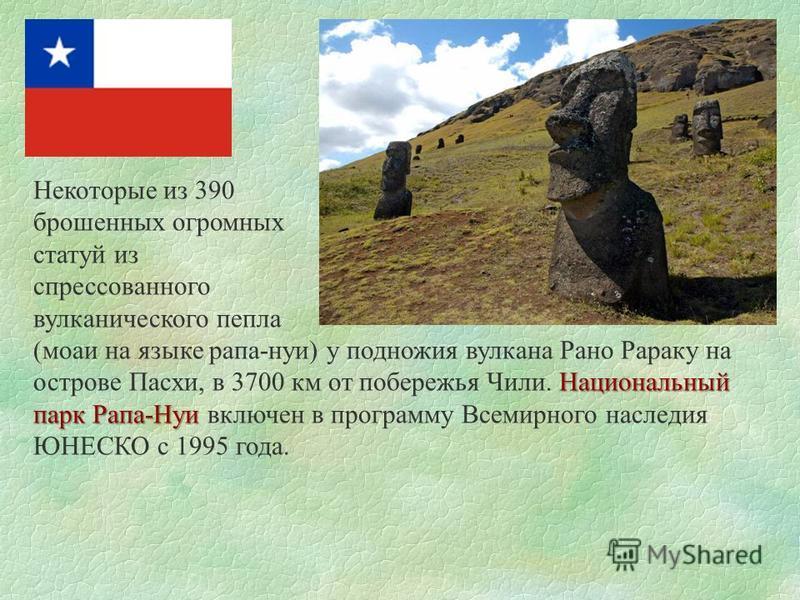 Некоторые из 390 брошенных огромных статуй из спрессованного вулканического пепла Национальный парк Рапа-Нуи (мочи на языке рапа-нуи) у подножия вулкана Рано Рараку на острове Пасхи, в 3700 км от побережья Чили. Национальный парк Рапа-Нуи включен в п