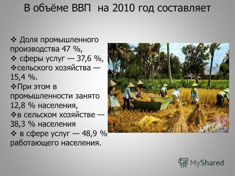 Доля промышленного производства 47 %, сферы услуг 37,6 %, сельского хозяйства 15,4 %. При этом в промышленности занято 12,8 % населения, в сельском хозяйстве 38,3 % населения в сфере услуг 48,9 % работающего населения. В объёме ВВП на 2010 год состав