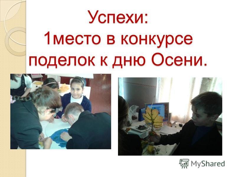 Успехи: 1 место в конкурсе поделок к дню Осени.