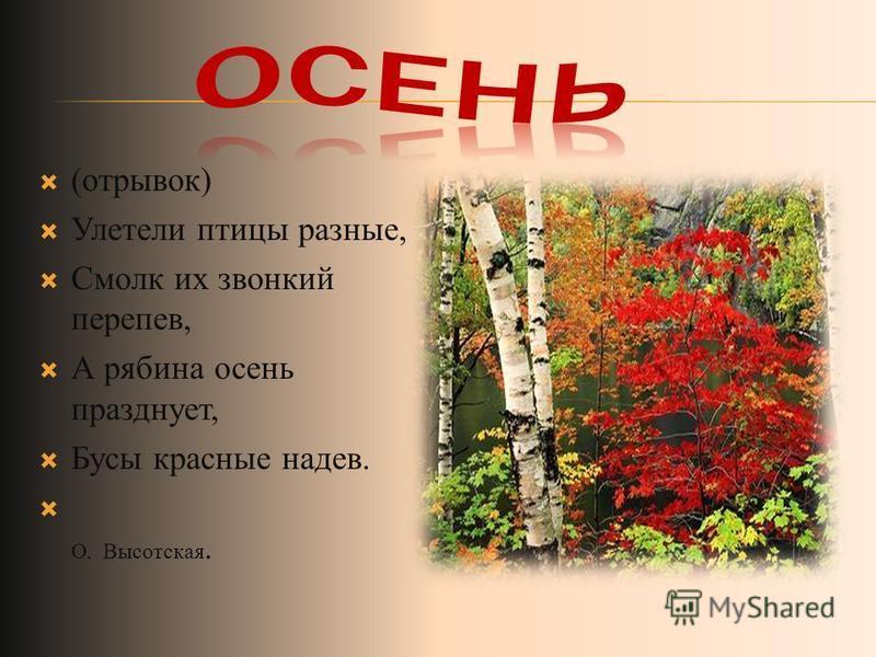 (отрывок) Улетели птицы разные, Смолк их звонкий перепев, А рябина осень празднует, Бусы красные надев. О. Высотская.