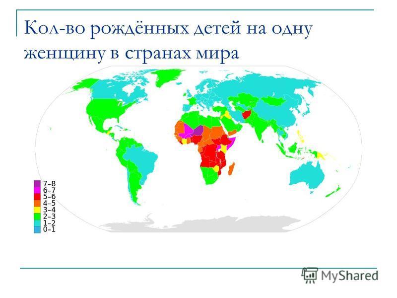 Кол-во рождённых детей на одну женщину в странах мира