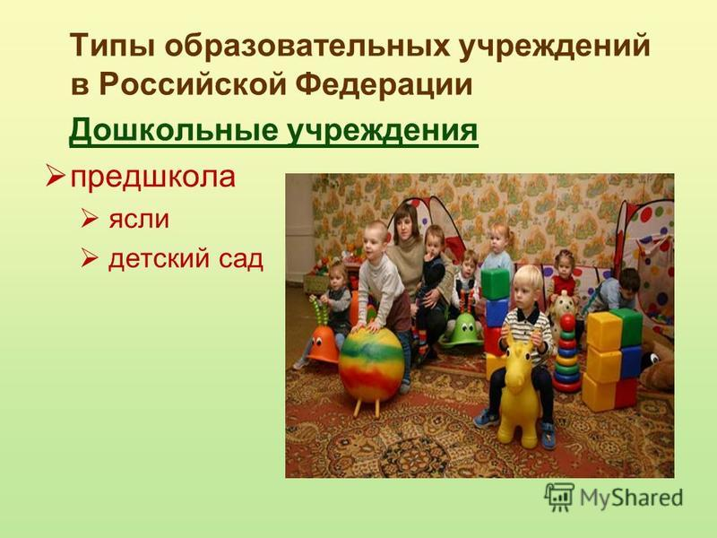 Типы образовательных учреждений в Российской Федерации Дошкольные учреждения предшкола ясли детский сад