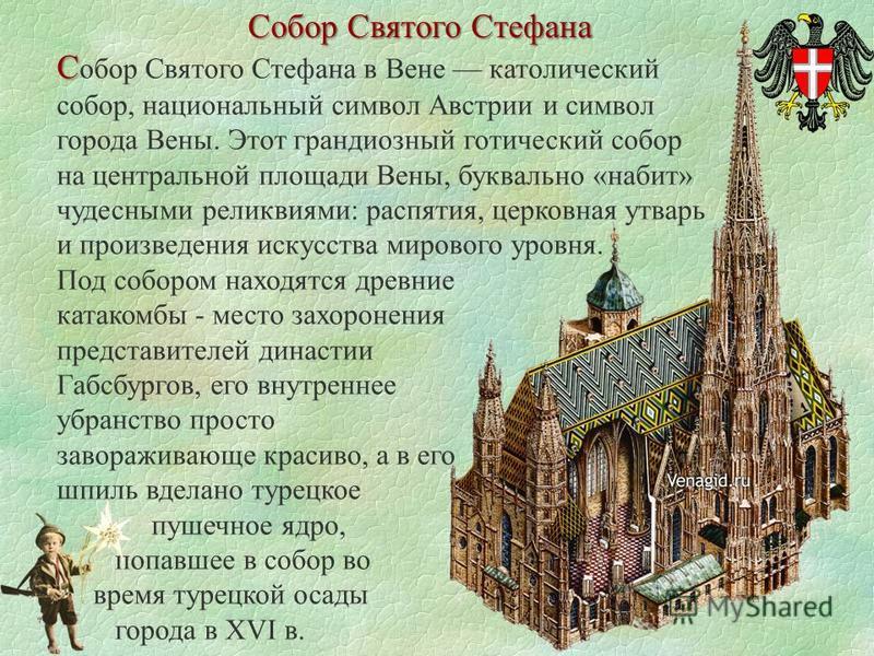 Собор Святого Стефана С С обор Святого Стефана в Вене католический собор, национальный символ Австрии и символ города Вены. Этот грандиозный готический собор на центральной площади Вены, буквально «набит» чудесными реликвиями: распятия, церковная утв