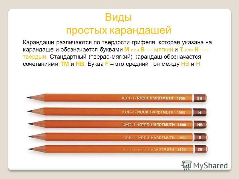 Виды простых карандашей Карандаши различаются по твёрдости грифеля, которая указана на карандаше и обозначается буквами М или B мягкий и Т или H твёрдый. Стандартный (твёрдо-мягкий) карандаш обозначается сочетаниями ТМ и HB. Буква F – это средний тон
