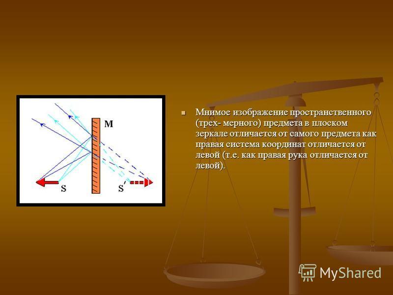 Мнимое изображение пространственного (трех- мерного) предмета в плоском зеркале отличается от самого предмета как правая система координат отличается от левой (т.е. как правая рука отличается от левой).