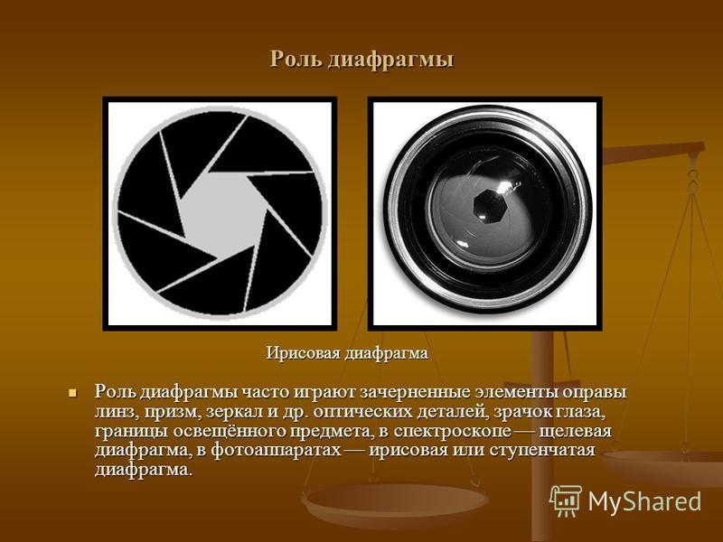 Роль диафрагмы Роль диафрагмы часто играют зачерненные элементы оправы линз, призм, зеркал и др. оптических деталей, зрачок глаза, границы освещённого предмета, в спектроскопе щелевая диафрагма, в фотоаппаратах ирисовая или ступенчатая диафрагма. Рол