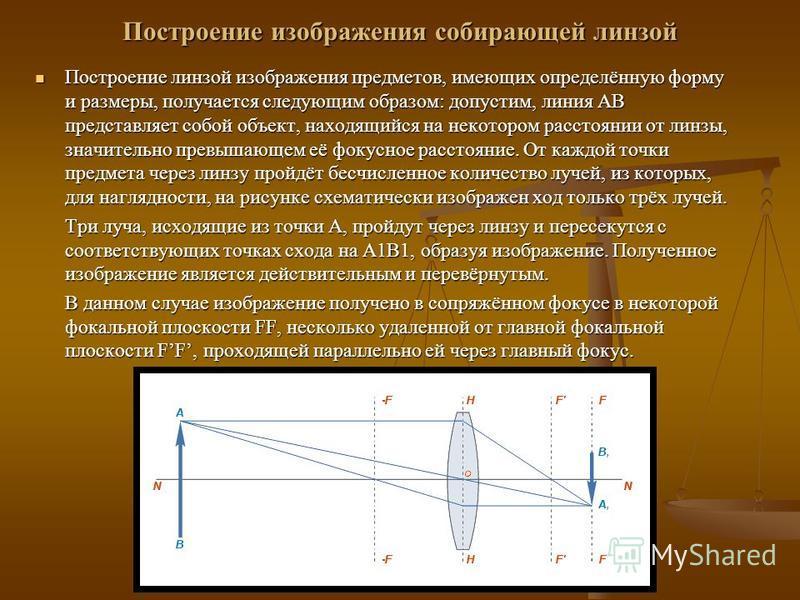 Построение изображения собирающей линзой Построение линзой изображения предметов, имеющих определённую форму и размеры, получается следующим образом: допустим, линия AB представляет собой объект, находящийся на некотором расстоянии от линзы, значител