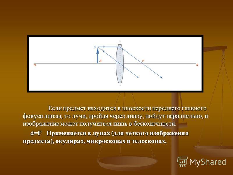 Если предмет находится в плоскости переднего главного фокуса линзы, то лучи, пройдя через линзу, пойдут параллельно, и изображение может получиться лишь в бесконечности. d=F Применяется в лупах (для четкого изображения предмета), окулярах, микроскопа
