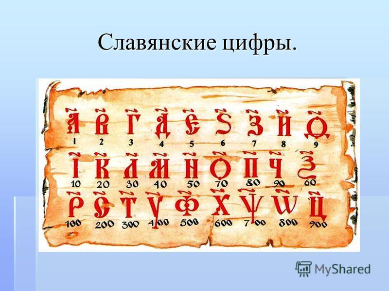 Славянские цифры.
