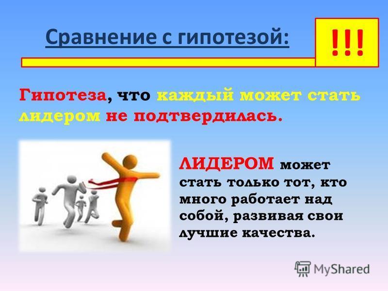 Сравнение с гипотезой: Гипотеза, что каждый может стать лидером не подтвердилась. ЛИДЕРОМ может стать только тот, кто много работает над собой, развивая свои лучшие качества. !!!