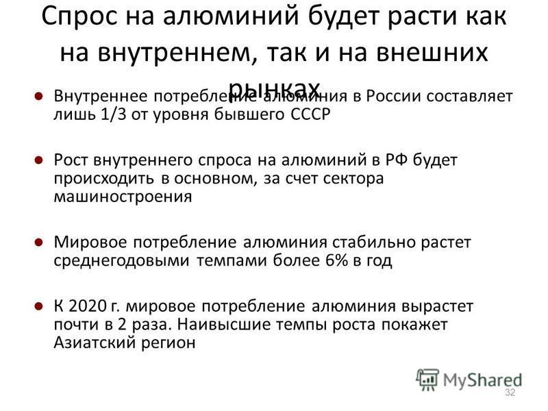 Спрос на алюминий будет расти как на внутреннем, так и на внешних рынках Внутреннее потребление алюминия в России составляет лишь 1/3 от уровня бывшего СССР Рост внутреннего спроса на алюминий в РФ будет происходить в основном, за счет сектора машино