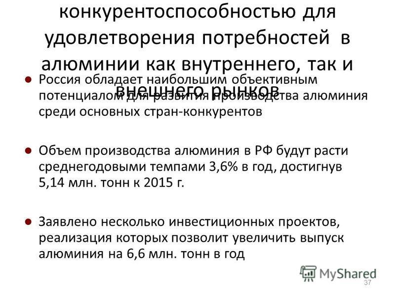 Россия обладает высокой конкурентоспособностью для удовлетворения потребностей в алюминии как внутреннего, так и внешнего рынков Россия обладает наибольшим объективным потенциалом для развития производства алюминия среди основных стран-конкурентов Об
