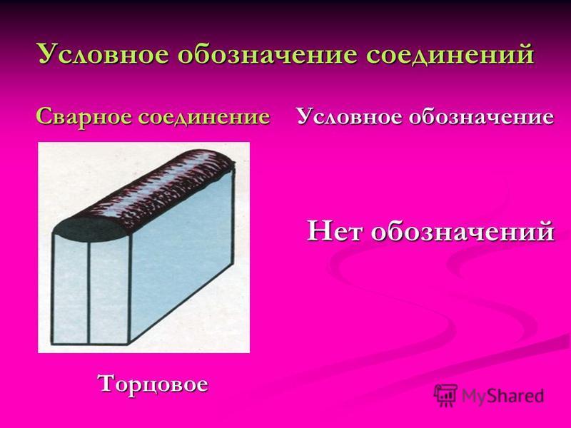 Условное обозначение соединений Сварное соединение Торцовое Условное обозначение Нет обозначений