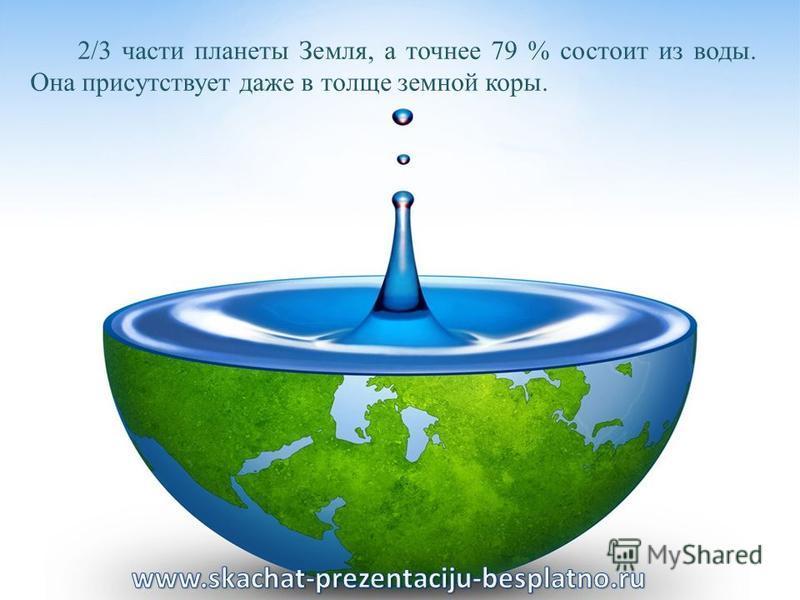 2/3 части планеты Земля, а точнее 79 % состоит из воды. Она присутствует даже в толще земной коры.