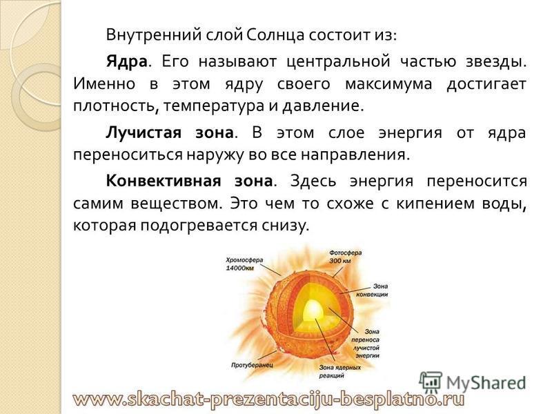 Внешний слой Солнца называется атмосферой. ЕЕ видно человеку невооруженным глазом. Она делиться на : Фотосфера. ЕЕ называют поверхностью Солнца. Фотосфера очень тонкая, однако, именно из нее идет основной источник энергии. Все вещества в этом слое –