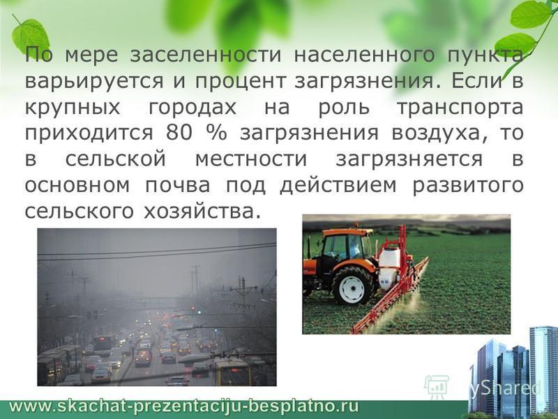 По мере заселенности населенного пункта варьируется и процент загрязнения. Если в крупных городах на роль транспорта приходится 80 % загрязнения воздуха, то в сельской местности загрязняется в основном почва под действием развитого сельского хозяйств