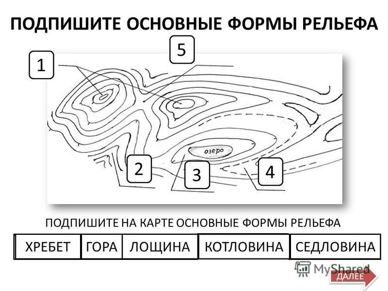 Выберите формы рельефа, соответствующие поднятиям ПОПРОБУЙ ЕЩЕ РАЗ МОЛОДЕЦ! ДАЛЕЕ