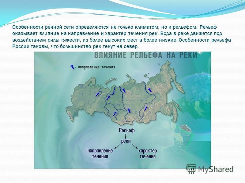Особенности речной сети определяются не только климатом, но и рельефом. Рельеф оказывает влияние на направление и характер течения рек. Вода в реке движется под воздействием силы тяжести, из более высоких мест в более низкие. Особенности рельефа Росс