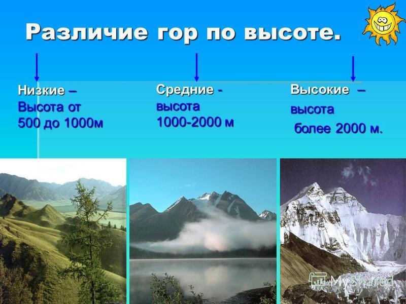 Различие гор по высоте. Низкие – Высота от 500 до 1000 м Средние - высота 1000-2000 м Высокие – высота более 2000 м. более 2000 м.