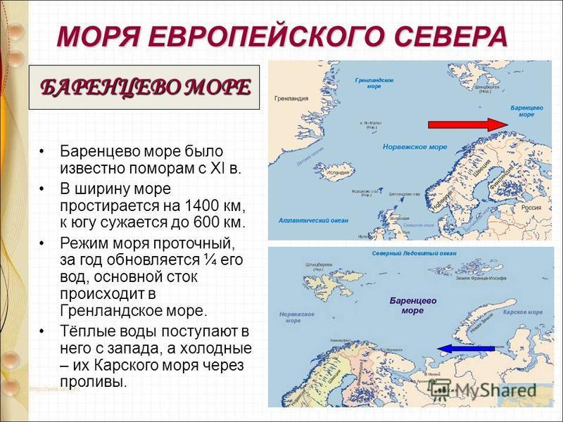 МОРЯ ЕВРОПЕЙСКОГО СЕВЕРА Баренцево море было известно поморам с XI в. В ширину море простирается на 1400 км, к югу сужается до 600 км. Режим моря проточный, за год обновляется ¼ его вод, основной сток происходит в Гренландское море. Тёплые воды посту