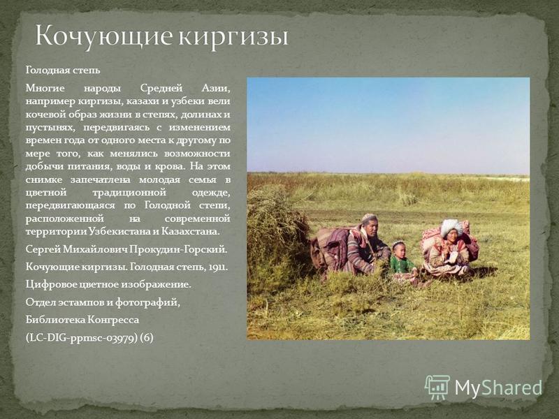 Голодная степь Многие народы Средней Азии, например киргизы, казахи и узбеки вели кочевой образ жизни в степях, долинах и пустынях, передвигаясь с изменением времен года от одного места к другому по мере того, как менялись возможности добычи питания,