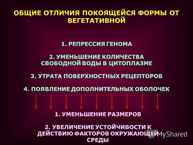 ОБЩИЕ ОТЛИЧИЯ ПОКОЯЩЕЙСЯ ФОРМЫ ОТ ВЕГЕТАТИВНОЙ 1. РЕПРЕССИЯ ГЕНОМА 2. УМЕНЬШЕНИЕ КОЛИЧЕСТВА СВОБОДНОЙ ВОДЫ В ЦИТОПЛАЗМЕ 3. УТРАТА ПОВЕРХНОСТНЫХ РЕЦЕПТОРОВ 4. ПОЯВЛЕНИЕ ДОПОЛНИТЕЛЬНЫХ ОБОЛОЧЕК 1. УМЕНЬШЕНИЕ РАЗМЕРОВ 2. УВЕЛИЧЕНИЕ УСТОЙЧИВОСТИ К ДЕЙСТВ