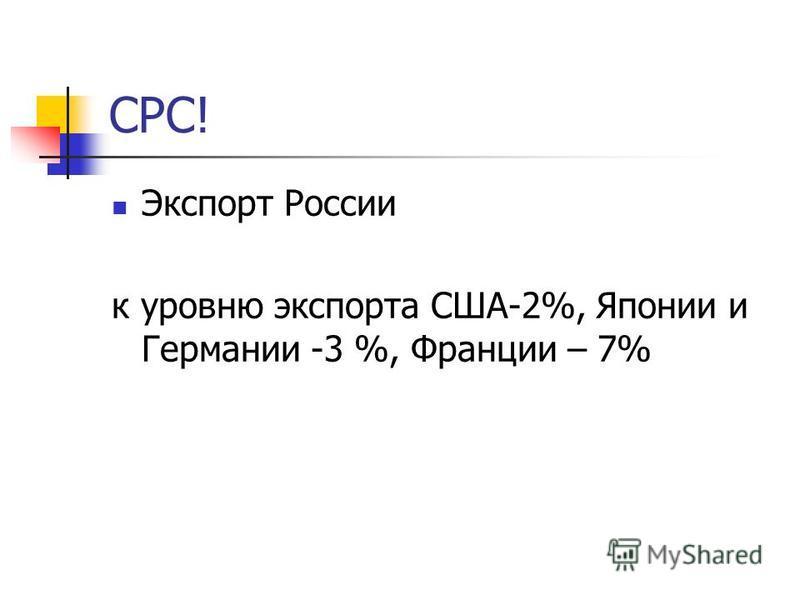 СРС! Экспорт России к уровню экспорта США-2%, Японии и Германии -3 %, Франции – 7%