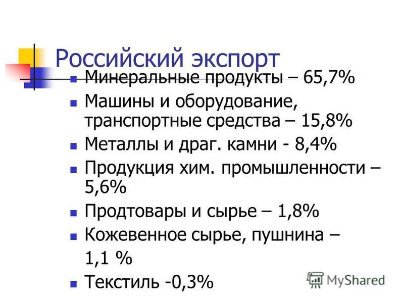Российский экспорт Минеральные продукты – 65,7% Машины и оборудование, транспортные средства – 15,8% Металлы и драг. камни - 8,4% Продукция хим. промышленности – 5,6% Продтовары и сырье – 1,8% Кожевенное сырье, пушнина – 1,1 % Текстиль -0,3%
